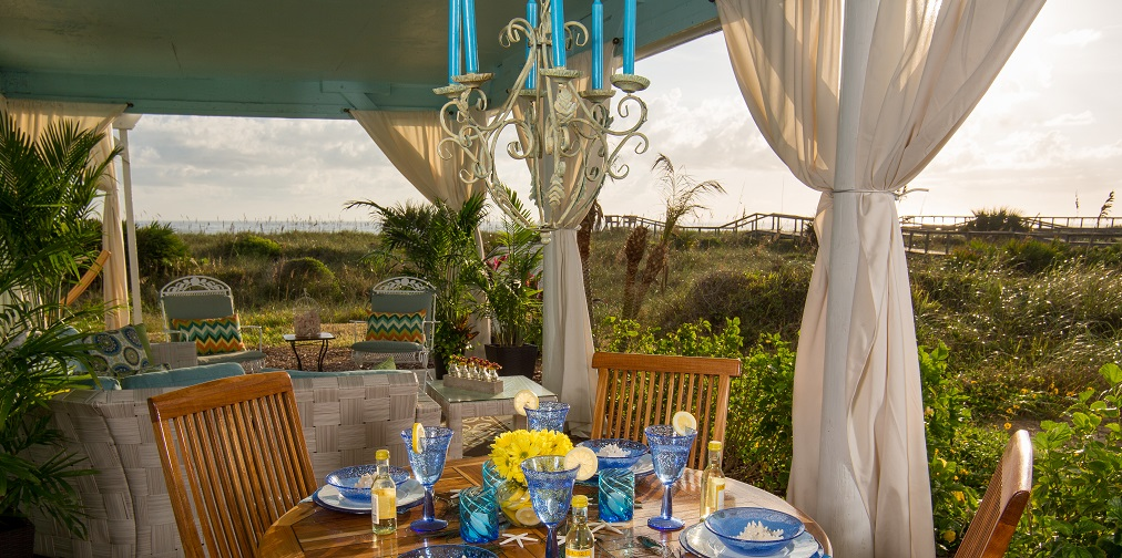The oceanfront patio of the Dunes Suite.