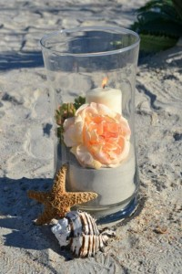 beach wedding candle